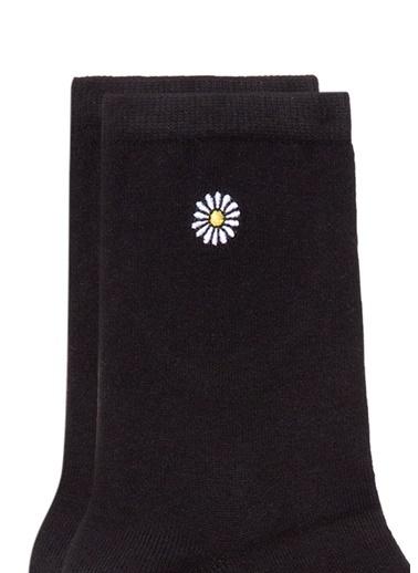 Mavi Papatya İşlemeli  Soket Çorap Siyah